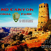 Grand Canyon National Park Poster Desert View Watchtower Retro Future Poster