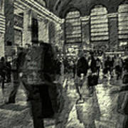 Grand Central Abstract In Black And White Poster