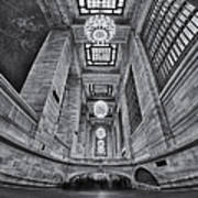 Grand Central Corridor Bw Poster