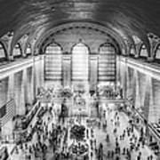 Grand Central Terminal Birds Eye View Bw Poster