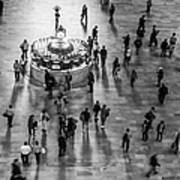 Grand Central Terminal Clock Birds Eye View II Bw Poster