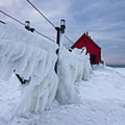 Grand Haven Lighthouse In Winter Poster