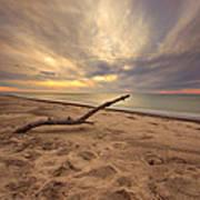 Grand Mere Sunset - Driftwood Poster