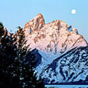 Grand Teton National Park Moonset Poster