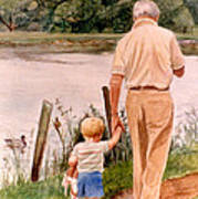 Little Boy And Grandpa In Park Poster