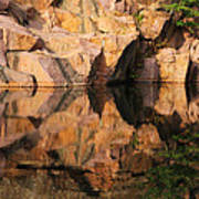 Granite Cliffs And Reflections In A Quarry Lake Poster