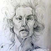 Graphite Portrait Sketch Of A Well Known Cross Eyed Model Poster
