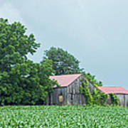 Gray Sky - Red Roofed Barn - Green Fields Poster