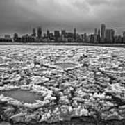 Gray Winter Chicago Skyline Poster