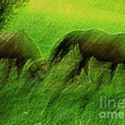 grazing Horses watercolor Poster