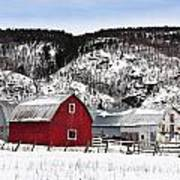 Great Canadian Red Barn In Winter Poster