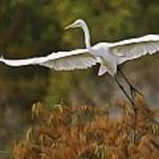 Great Egret Pixelated Poster