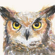 Great Horned Owl Watercolor Poster