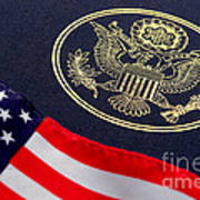 Great Seal Of The United States And American Flag Poster