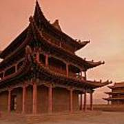 Great Wall Pagoda At Sunset Poster
