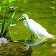 Great White Egret Bird With Deer And Fish In Lake  Poster