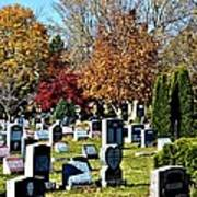 Greece Fall Cemetery Poster