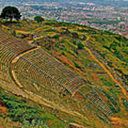 Greek Theatre With Bergama In Background From Pergamum-turkey Poster