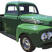 Green 1951 Ford F-1 Pick Up Truck Illustration  Poster