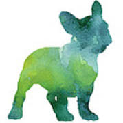 Green And Blue Abstract French Bulldog Watercolor Painting Poster