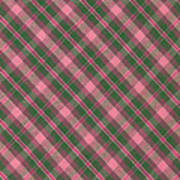 Green And Pink Diagonal Plaid Pattern Textile Background Poster