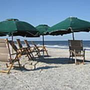 Green Beach Umbrellas Poster