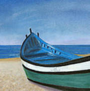 Green Boat Blue Skies Poster