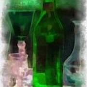 Green Bottle Photo Art Poster
