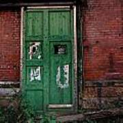 Green Door On Red Brick Wall Poster by Amy Cicconi
