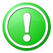 Green Exclamation Point Button Poster
