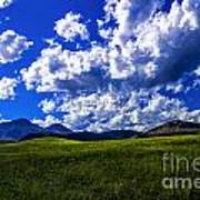 Green Field Of Clouds Poster