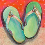Green Flip Flops Poster