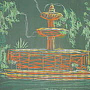 Green Fountain Poster by Marcia Meade
