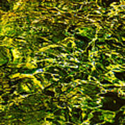 Green Gold Water Abstract. Feng Shui Poster by Jenny Rainbow