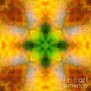 Green Heart Rainbow Light Mandala Poster