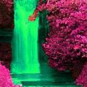 Green Irish Waterfall Surrounded By Pink Poster