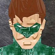 Green Lantern Superhero Portrait Recycled License Plate Art Poster