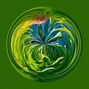 Green Leaf Orb Poster