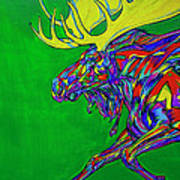 Green Mega Moose Poster