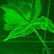 Green Negative Wood Flower Poster