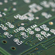 Green Printed Circuit Board Closeup Poster