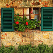 Green Shutters And Window In Chianti Poster