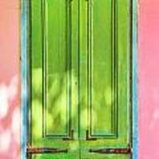 Green Shutters Pink Stucco Wall 2 Poster