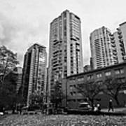 Green Space In Front Of High Rise Apartment Condo Blocks In The West End Between Robson And West Geo Poster by Joe Fox