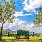 Green Wagon And Vineyard Poster