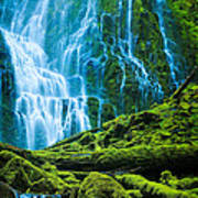 Green Waterfall Poster