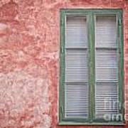 Green Window On Red Wall. Poster