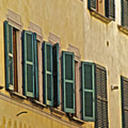 Green Window Shutters Of Florence Poster