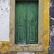 Green Wood Door With Hand Carved Stone Against A Texured Wall In The Medieval Village Of Obidos Poster by David Letts