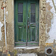 Green Wood Door With Hand Carved Stone In The Medieval Village Of Obidos Poster